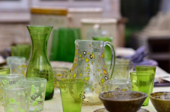 Green Murano glass at Petersham nurseries